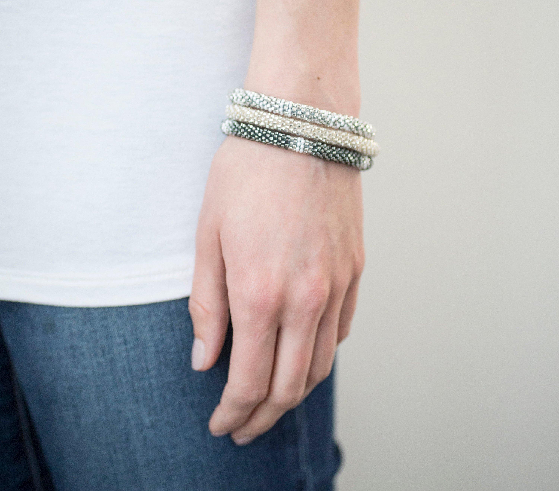 3 sæt Perle armbånd Silver