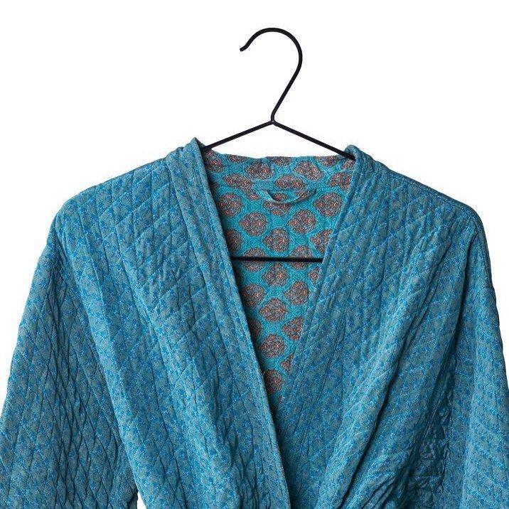 Quiltet Silke kimono jakke lang