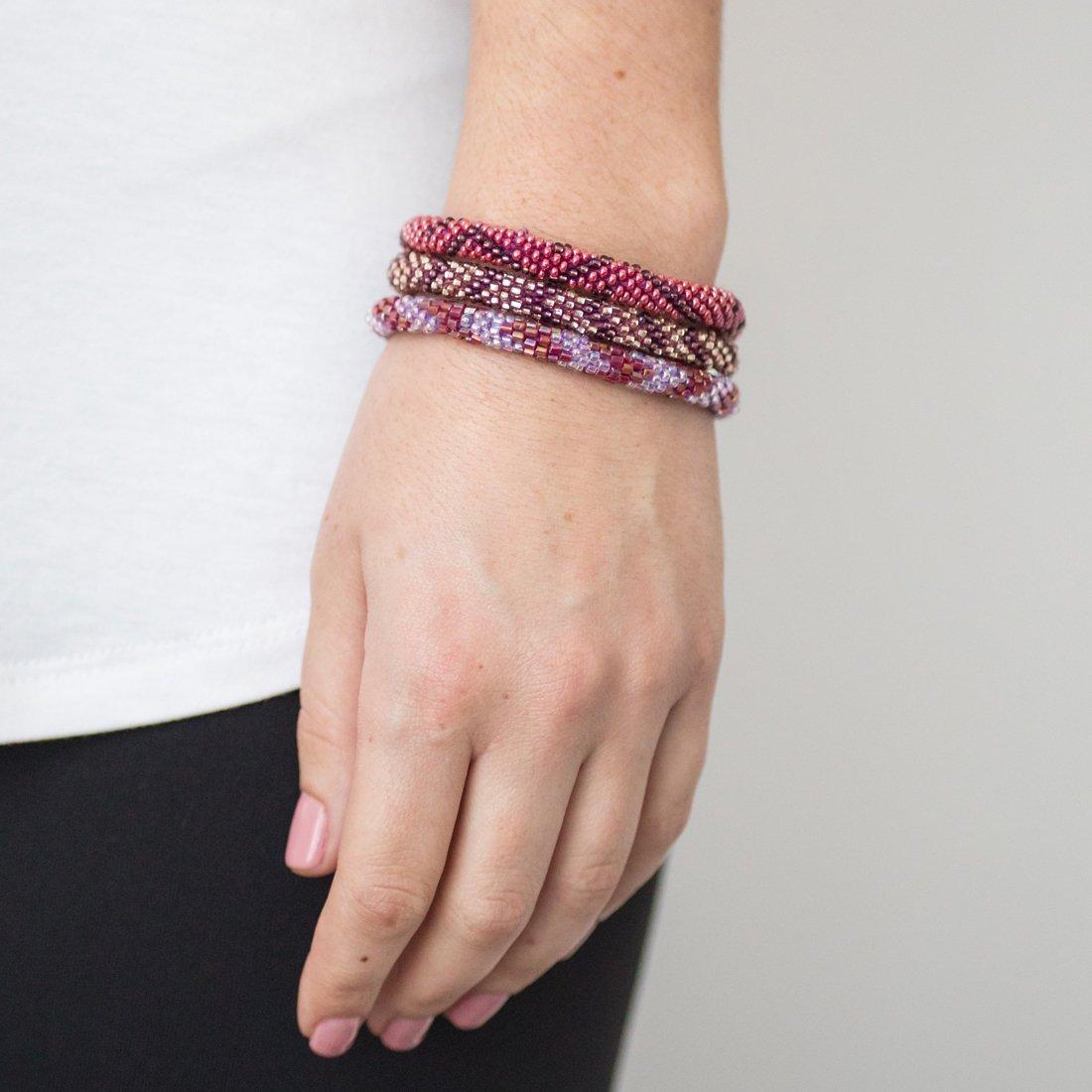 3 sæt Perle armbånd Bordeaux