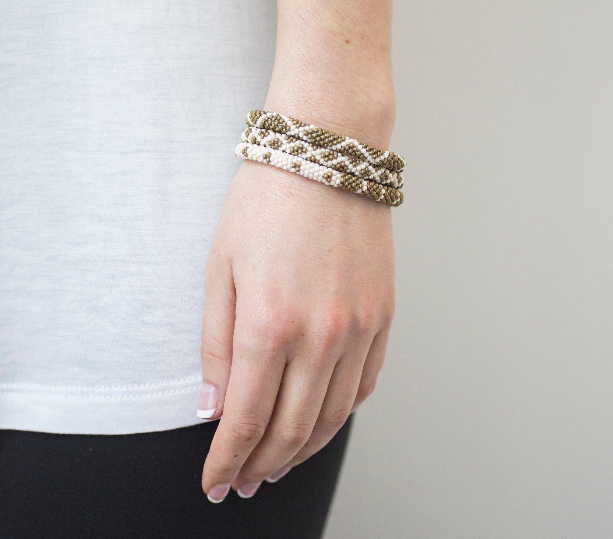 3 sæt Perle armbånd Khaki