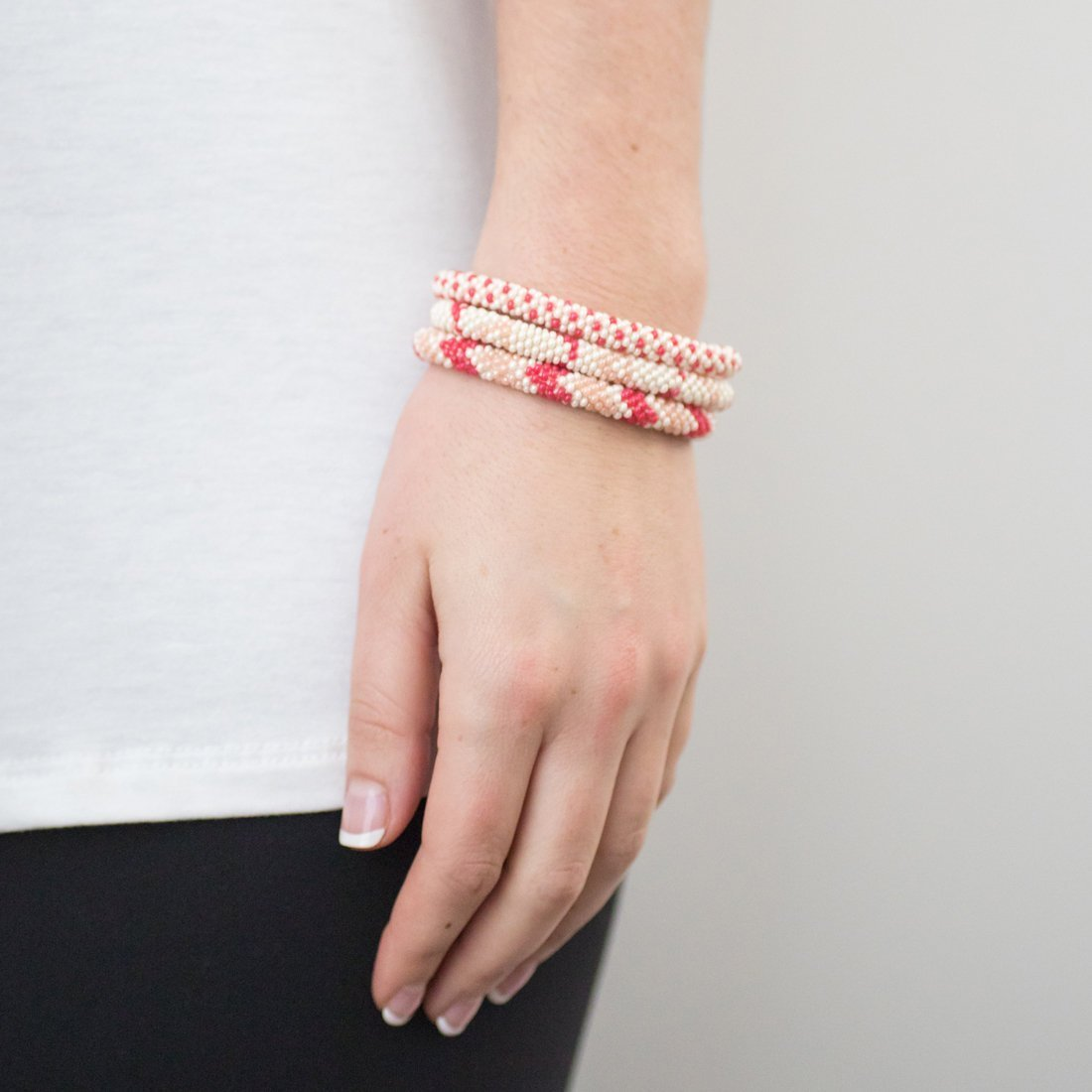 3 sæt Perle armbånd Pink